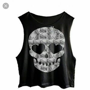 Wildfox metal skull cut off tank